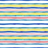 Modelo incons?til rayado de la acuarela con el azul, la turquesa, el amarillo y rayas rosadas en colores pastel en el fondo blanc ilustración del vector