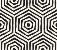 Modelo inconsútil rayado dibujado mano de la tinta blanco y negro Textura del enrejado del grunge del vector El cepillo monocromá Fotos de archivo