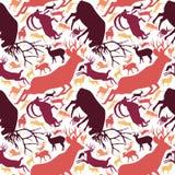 Modelo inconsútil repetible de los ciervos de cuernos Buck Stag ilustración del vector