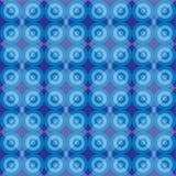 Modelo inconsútil retro azul con el blackground de los círculos Fotos de archivo