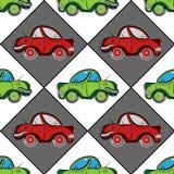 Modelo inconsútil retro con los coches planos del vintage rojo y verde Imagen de archivo