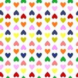 Modelo inconsútil retro con los corazones coloridos Imágenes de archivo libres de regalías