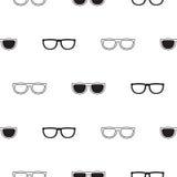 Modelo inconsútil retro de las gafas de sol en blanco y negro Foto de archivo libre de regalías