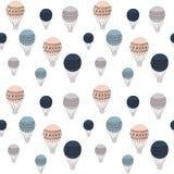 Modelo inconsútil retro de los balones de aire, ejemplo colorido del vector, diseño listo para utilizar para diversas superficies Imagen de archivo