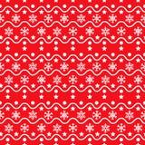 Modelo inconsútil rojo de los copos de nieve Imagen de archivo