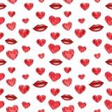 Modelo inconsútil rojo de los corazones y de los labios, ejemplo de la acuarela libre illustration