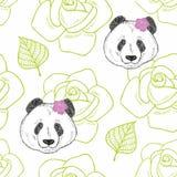 Modelo inconsútil romántico con la muchacha linda de la panda Imagen de archivo