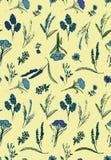 Modelo inconsútil romántico del vector con las flores salvajes azules en fondo pálido ilustración del vector