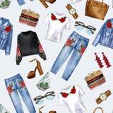 Modelo inconsútil - ropa del dril de algodón y accesorios de la mujer ilustración del vector