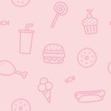 Modelo inconsútil rosado de Junk Food Fotografía de archivo libre de regalías