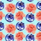 Modelo inconsútil rosado de las flores y de las bayas de la acuarela Foto de archivo libre de regalías