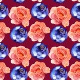 Modelo inconsútil rosado de las flores y de las bayas de la acuarela Imágenes de archivo libres de regalías