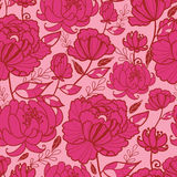 Modelo inconsútil rosado de las flores y de las hojas Imágenes de archivo libres de regalías