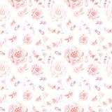 Modelo inconsútil rosado delicado de las flores y de los anillos de la piedra preciosa Rosas y peonías románticas en el fondo bla ilustración del vector