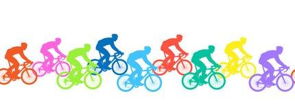 Modelo inconsútil Siluetas de los ciclistas, competencia ilustración del vector