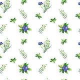 Modelo inconsútil simple con las hojas de los differents y las flores azules Ilustración del Vector