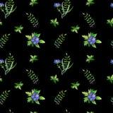 Modelo inconsútil simple con las hojas de los differents y las flores azules Stock de ilustración