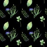 Modelo inconsútil simple con las hojas de los differents y las flores azules Libre Illustration