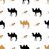 Modelo inconsútil simple con los camellos Vector Modelo del vector Oro y camello negro Imagen de archivo