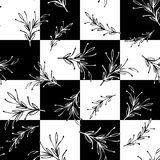 Modelo inconsútil simple mínimo cuadrado floral blanco y negro Fotos de archivo