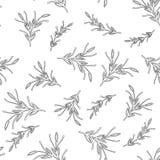 Modelo inconsútil simple mínimo floral blanco y negro Imagen de archivo libre de regalías