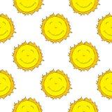 Modelo inconsútil sonriente de Sun Fotografía de archivo libre de regalías