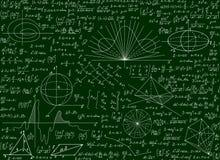Modelo inconsútil técnico científico del vector matemático con las fórmulas manuscritas, cálculos, ecuaciones en un fondo verde ilustración del vector