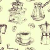 Modelo inconsútil Taza de café, granos de café, fabricante de café y amoladora de café Ejemplo dibujado mano en estilo del bosque stock de ilustración