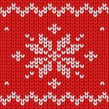 Modelo inconsútil Tela hecha punto Copo de nieve del ornamento Lanas Decoración del invierno Rojo Vector libre illustration