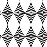 Modelo inconsútil textura con estilo moderna Repetición de las tejas geométricas con el Rhombus rayado blanco y negro Foto de archivo