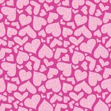 Modelo inconsútil texturizado rosado del vector de los corazones foto de archivo libre de regalías