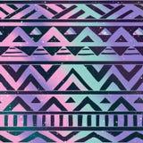 Modelo inconsútil tribal azteca en fondo cósmico Imagen de archivo libre de regalías