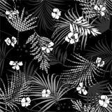 Modelo inconsútil tropical blanco y negro monótono con el fondo de relleno de Houndstooth de las flores y de las hojas del hounds ilustración del vector