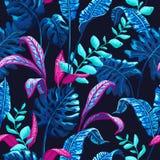 Modelo inconsútil tropical con las hojas de palma ilustración del vector