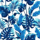 Modelo inconsútil tropical con las hojas de palma Imagen de archivo libre de regalías