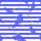Modelo inconsútil tropical con los puntos y las hojas de palma del oro ilustración del vector