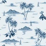 Modelo inconsútil tropical de la isla monótono en fondo azul stock de ilustración