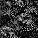 Modelo inconsútil tropical monótono oscuro en negro y pizca libre illustration