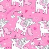 Modelo inconsútil Unicornio blanco en un fondo rosado Vector ilustración del vector