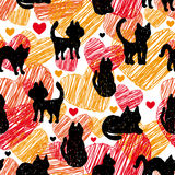 Modelo inconsútil, vector Siluetas negras de gatos en fondo del rojo anaranjado con los corazones Fotografía de archivo