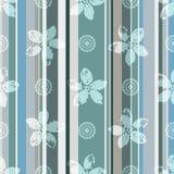 Modelo inconsútil verde-gris-azul elegante con las flores libre illustration