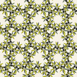 Modelo inconsútil verde oliva Fondo dibujado mano de la rama de olivo Textura decorativa verde oliva de la vieja moda para la eti Foto de archivo