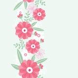 Modelo inconsútil vertical de las flores y de las hojas de la peonía Fotos de archivo