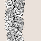 Modelo inconsútil vertical del contraste con las hojas y los tulipanes Imagenes de archivo