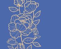 Modelo inconsútil vertical real de las flores y de las hojas Fotos de archivo