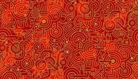 Modelo incons?til abstracto del vector mec?nico Dientes, pernos y engranajes pol?gonos Oro, ligero y rojo oscuro foto de archivo