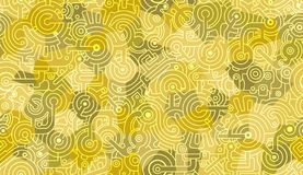Modelo incons?til abstracto del vector Textura del fondo Mecánico, adorno técnico Pernos, engranajes, dientes Verde y w amarillos imagenes de archivo