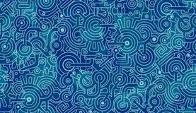 Modelo incons?til abstracto Mecanismos, engranajes, pernos, dientes Ligero y azul marino, blanco imagen de archivo