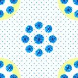 Modelo incons?til blanco con las flores azules Acianos de la acuarela, fondo del lunar stock de ilustración