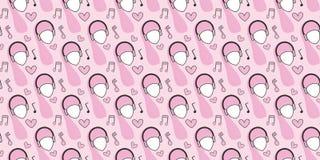Modelo incons?til Cabezas de mujeres en los auriculares, notas musicales, corazones en un fondo rosado libre illustration